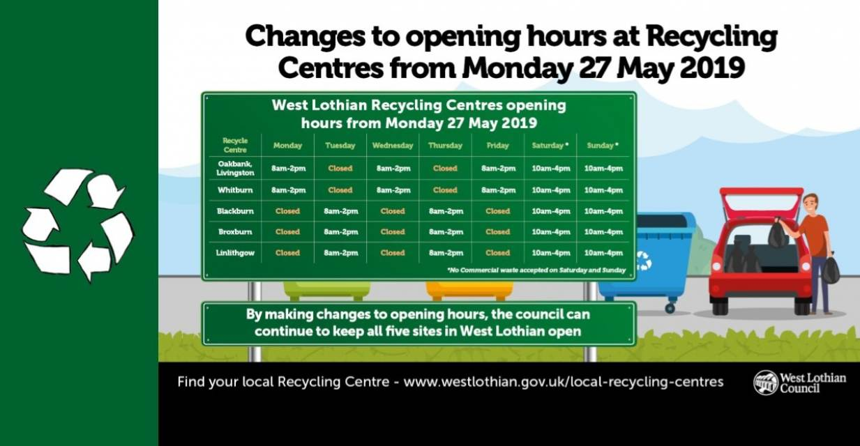 Recycling Centre's updated opening hours
